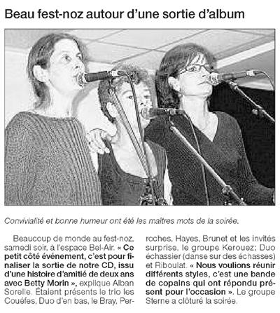 Ouest-France, fest-noz de Bilikenn, novembre 2005