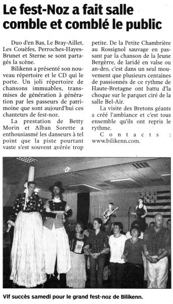 Le Pays Malouin, fest-noz de Bilikenn, novembre 2005