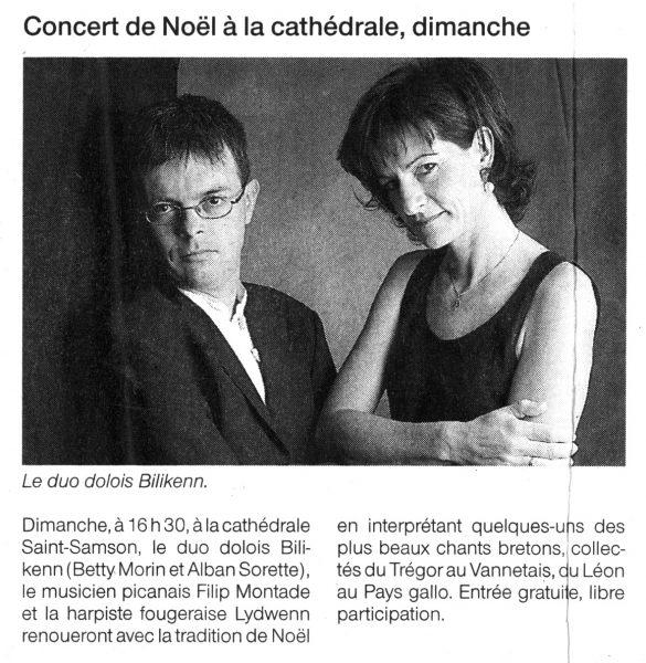 Ouest-France, concert de Noël, décembre 2005