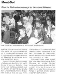 Ouest-France, concert au Mont-dol, juillet 2007