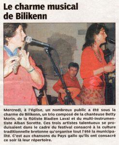 Le Pays malouin, le charme musical de Bilikenn, juillet 2007